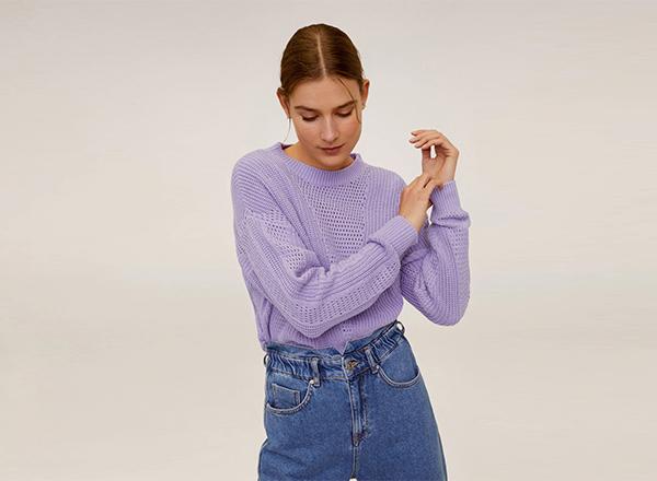 pulover mov pastel Mango