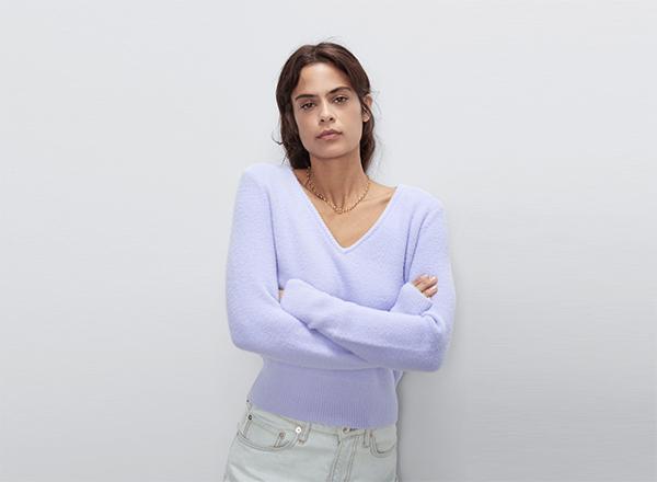 pulover pufos mov pastel Zara