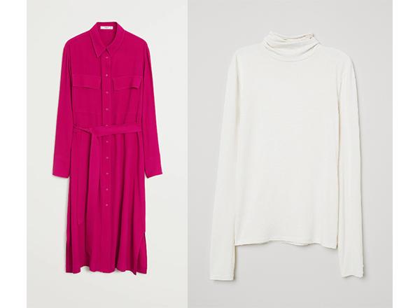 rochie camsa roz Mango helanca alba HM