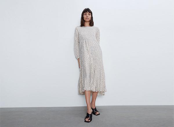 rochie lunga alba cu buline negre Zara