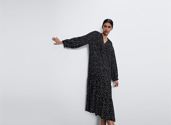 rochie midi larga Zara