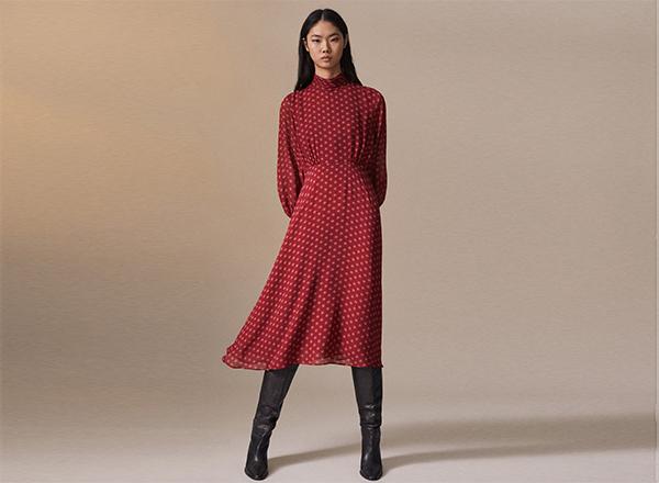 rochie rosie cu buline Massimo Dutti