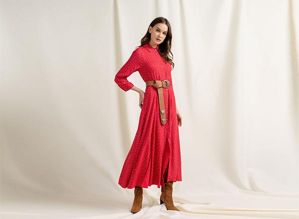 rochie rosie cu buline albe BSB
