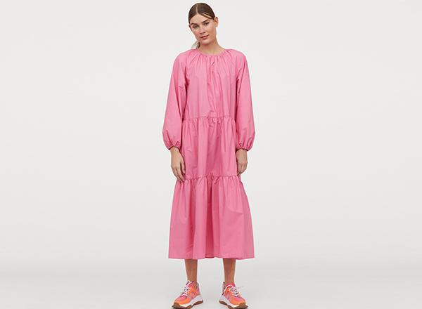 rochie roz cu maneci bufante H&M