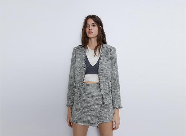 sacou din tweed franjurat Zara