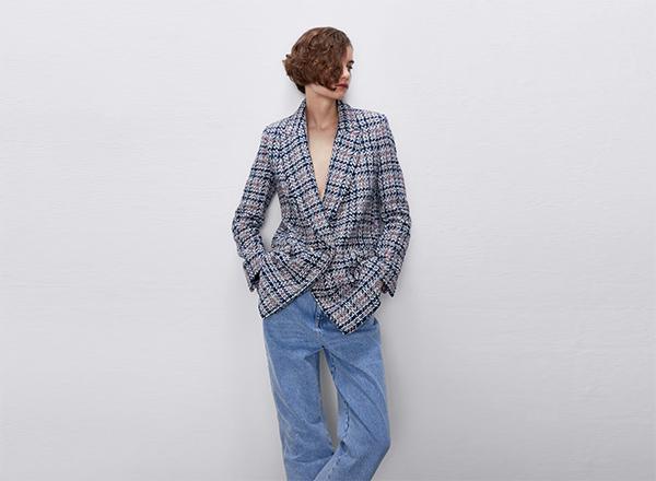 sacou din tweed rosu albastru Zara