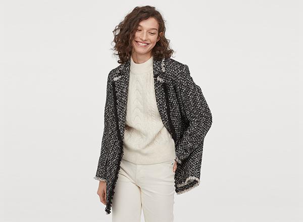 sacou lung din tweed negru-alb H&M