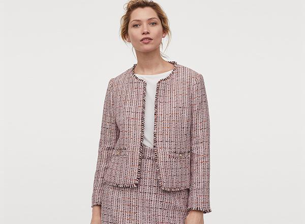sacou roz pastel din tweed H&M