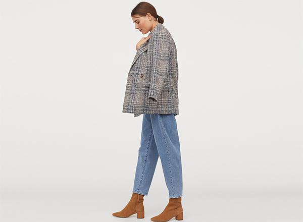 sacou tweed gri albastru H&M