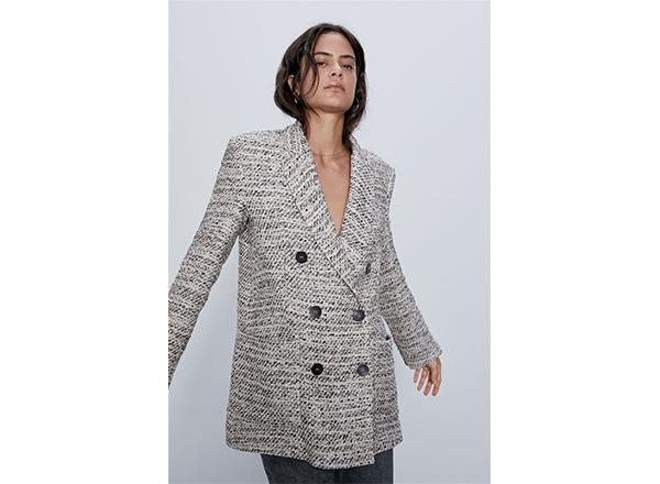 sacou tweed la 2 randuri Zara